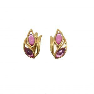 1980s Trifari Pink Floral Earrings