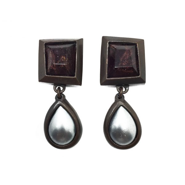 1980s Yves Saint Laurent YSL Art Drop Earrings