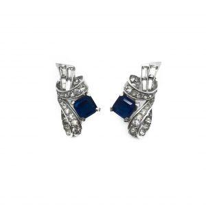 1940s Boucher Sapphire Deco Earrings