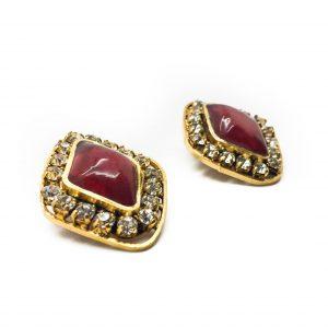 1970s Chanel Red Gripoix Earrings