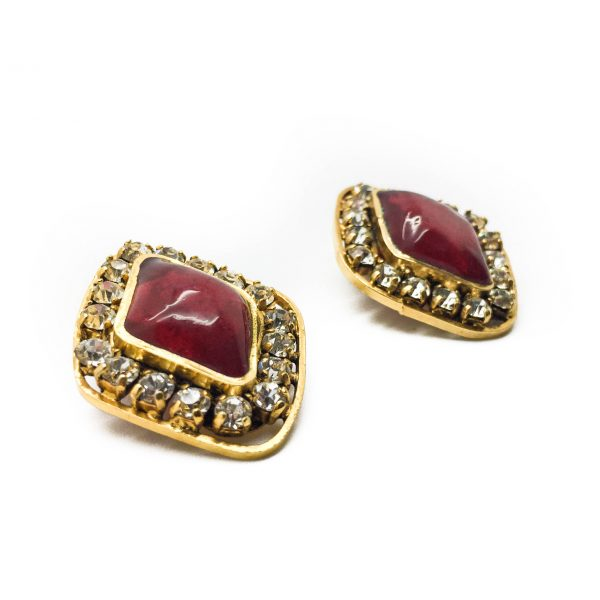 1970s Chanel Red Gripoix Earrings