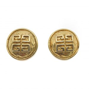 1980s GIVENCHY Hammered Logo Earrings