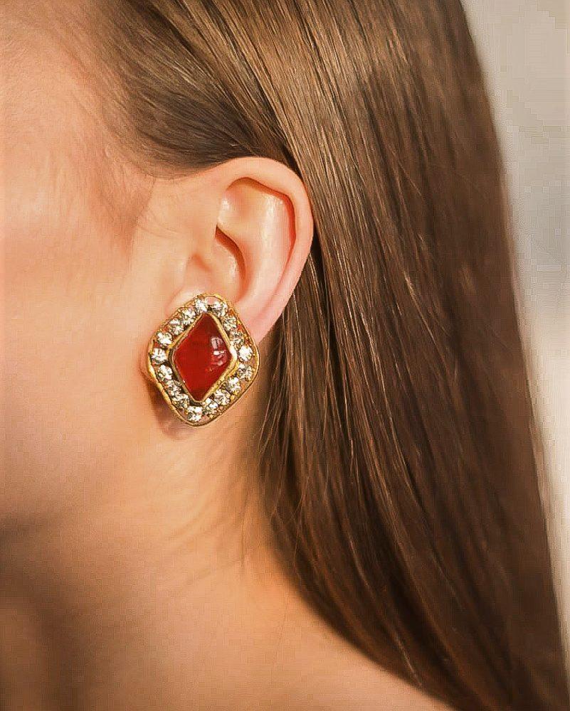 Vintage Chanel Red Gripoix Earrings Jennifer Gibson Jewellery