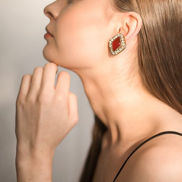 Vintage Chanel Red Gripoix Earrings Jennifer Gibson Jewellery