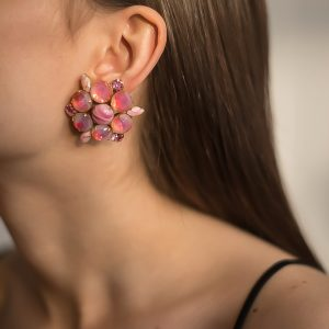Vintage Pink Givre Earrings Jennifer Gibson Jewellery