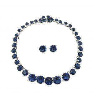 Vintage Christian Dior Midnight Blue Necklace and Earrings