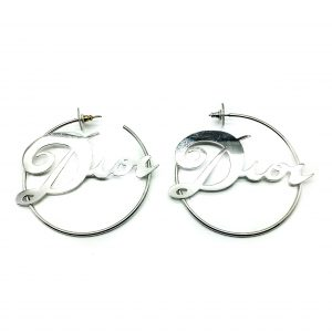 Vintage Dior Logo Hoop Earrings