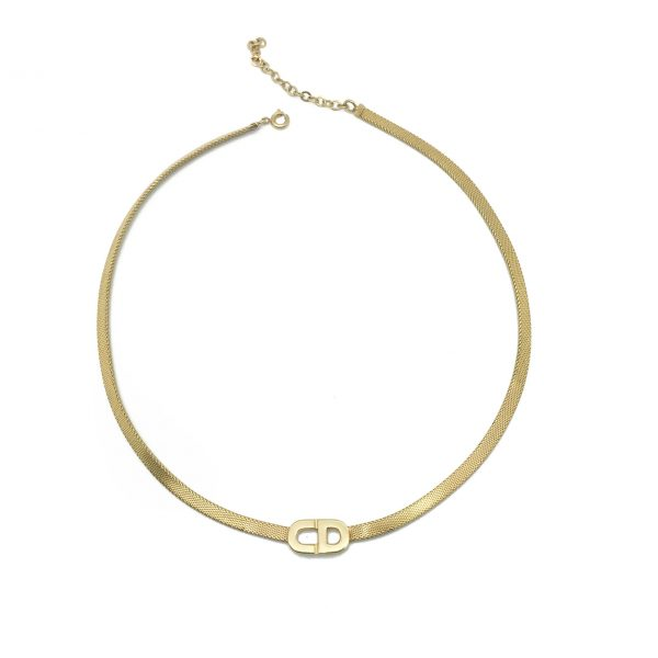Christian Dior Necklace, Vintage Dior Necklace, Vintage Dior Jewellery, Vintage Jewellery, VIntage Jewelry, Dior Logo Necklace, Gold Necklace, 1970s Dior