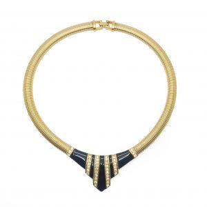 Vintage Givenchy Black and Gold Geo Collar Necklace