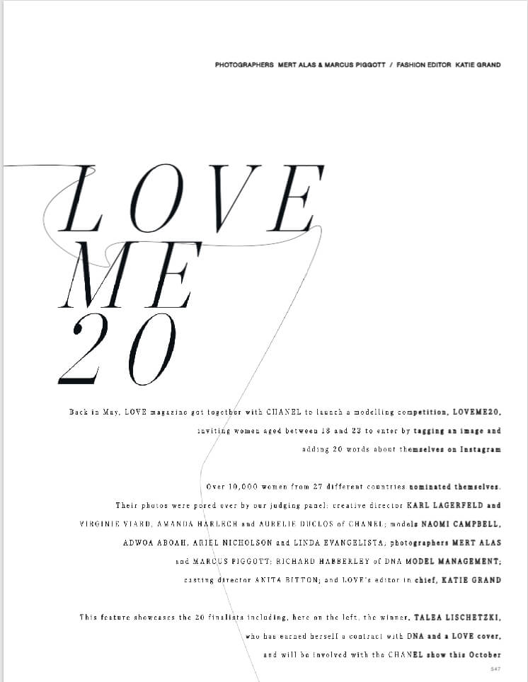 LOVE MAGAZINE | LOVE ME 20 MODEL COMPETITION WITH CHANEL | JENNIFER GIBSON JEWELLERY