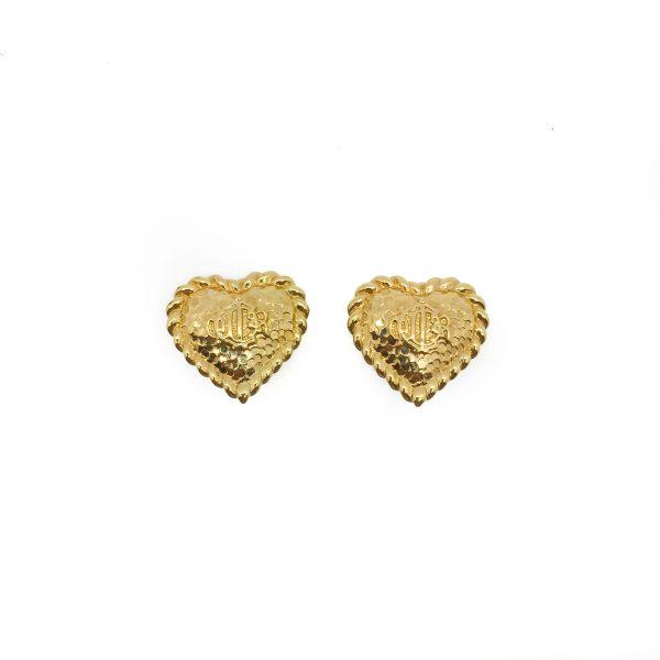 Vintage Dior Gilt Logo Heart Earrings