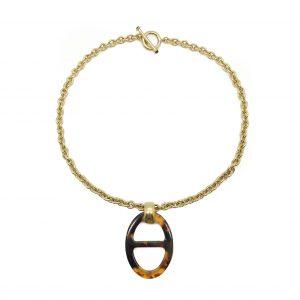 Vintage Ralph Loren Tortoiseshell Pendant Necklace
