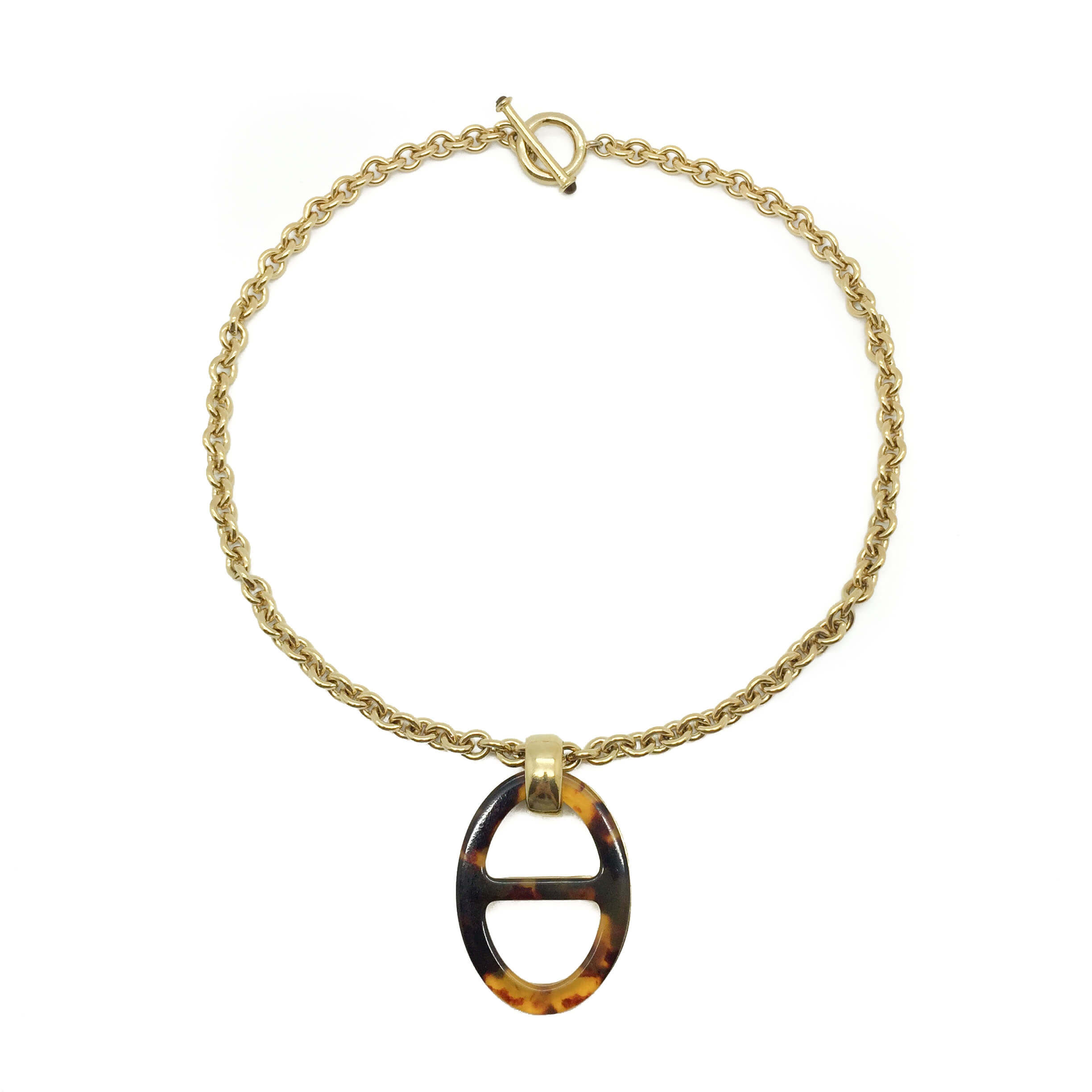 Fashion Accessories Faux Tortoise Shell Cut Crystal Long Oval Pendant Necklace