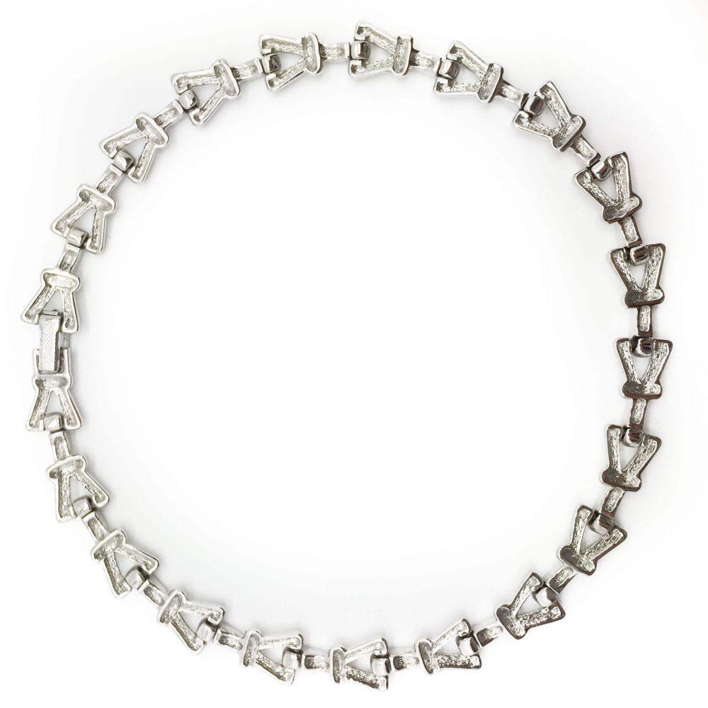 Vintage Dior Silvertone Geo Necklace