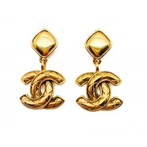 Vintage Chanel Matelesse CC Logo Earrings