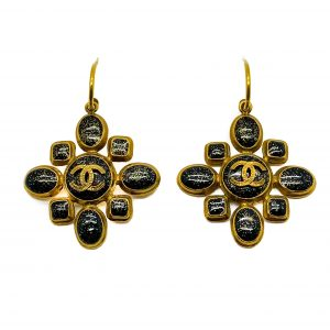 Vintage Chanel Gripoix CC Logo Earrings