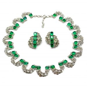 Vintage Dior Emerald Necklace and Earrings
