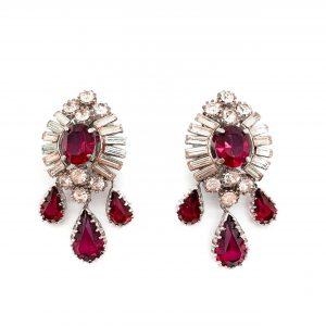 Vintage Ruby Crystal Drop Earrings 1950ss