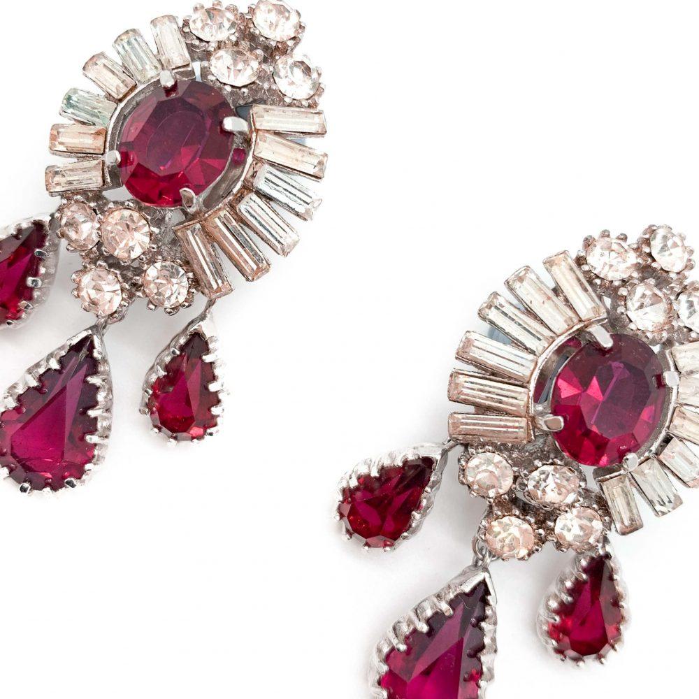 Vintage Ruby Crystal Drop Earrings 1950s