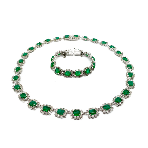 Vintage Dior Emerald Necklace Bracelet