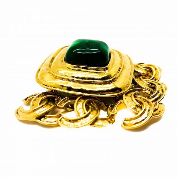 Vintage Chanel Gripoix CC Brooch