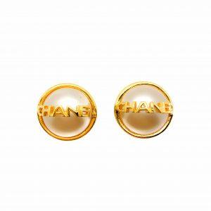 Vintage Chanel Pearl Logo Earrings