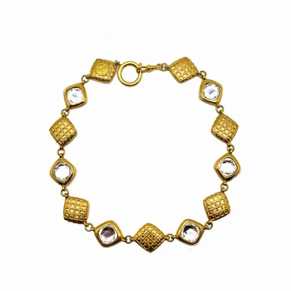 Vintage Chanel Crystal Gold Necklace