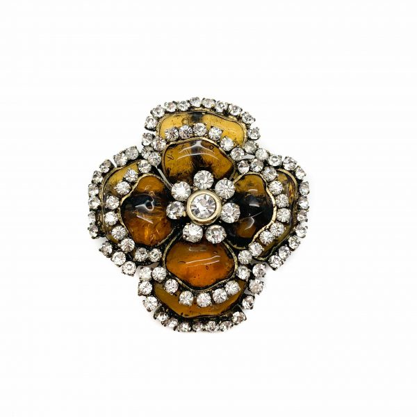 Vintage Chanel Gripoix Flower Brooch