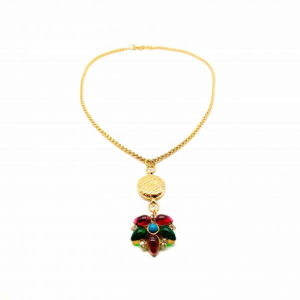 Vintage Chanel Gripoix Flower Pendant