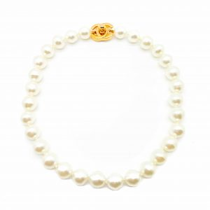 Vintage Chanel Pearl Turnlock Necklace
