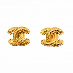 Vintage Chanel Logo Earrings Matelasse