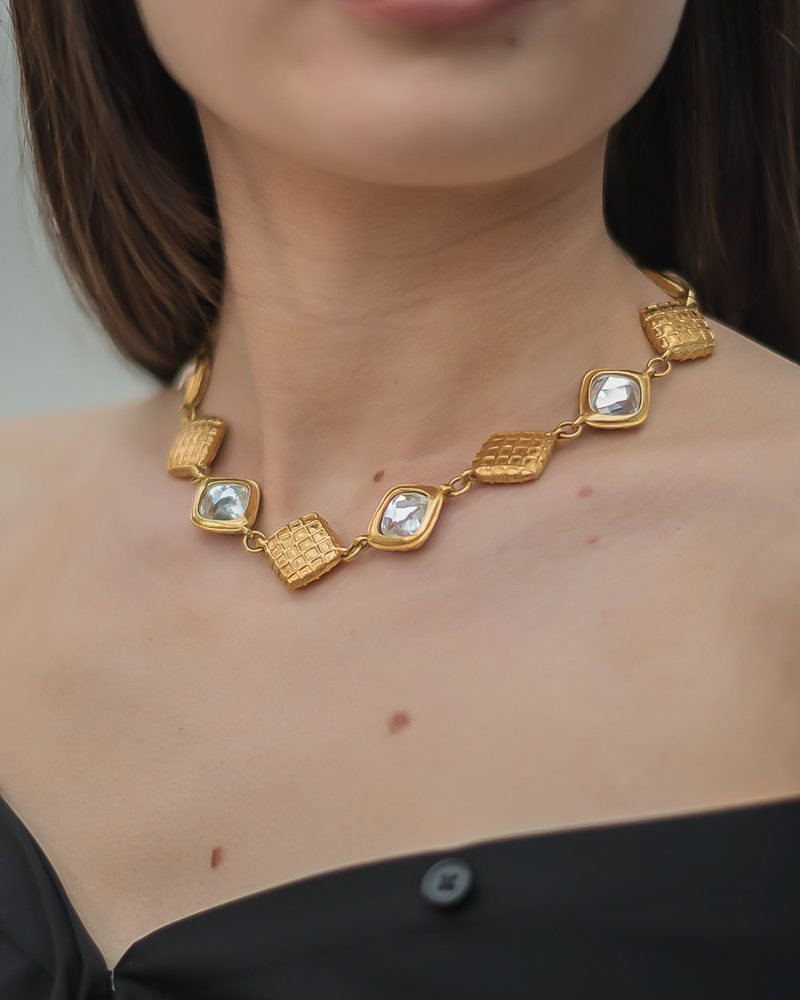 Vintage Chanel Crystal Lozenge Collar Necklace Jennifer Gibson Jewellery