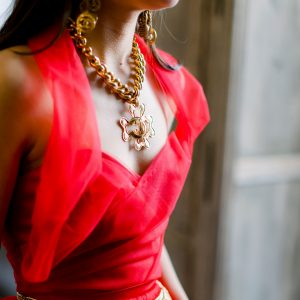Jennifer Gibson Jewellery Vintage Chanel Logo Necklace