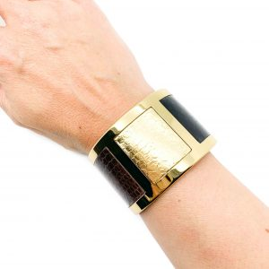 Aspinal Gold Leather Cuff