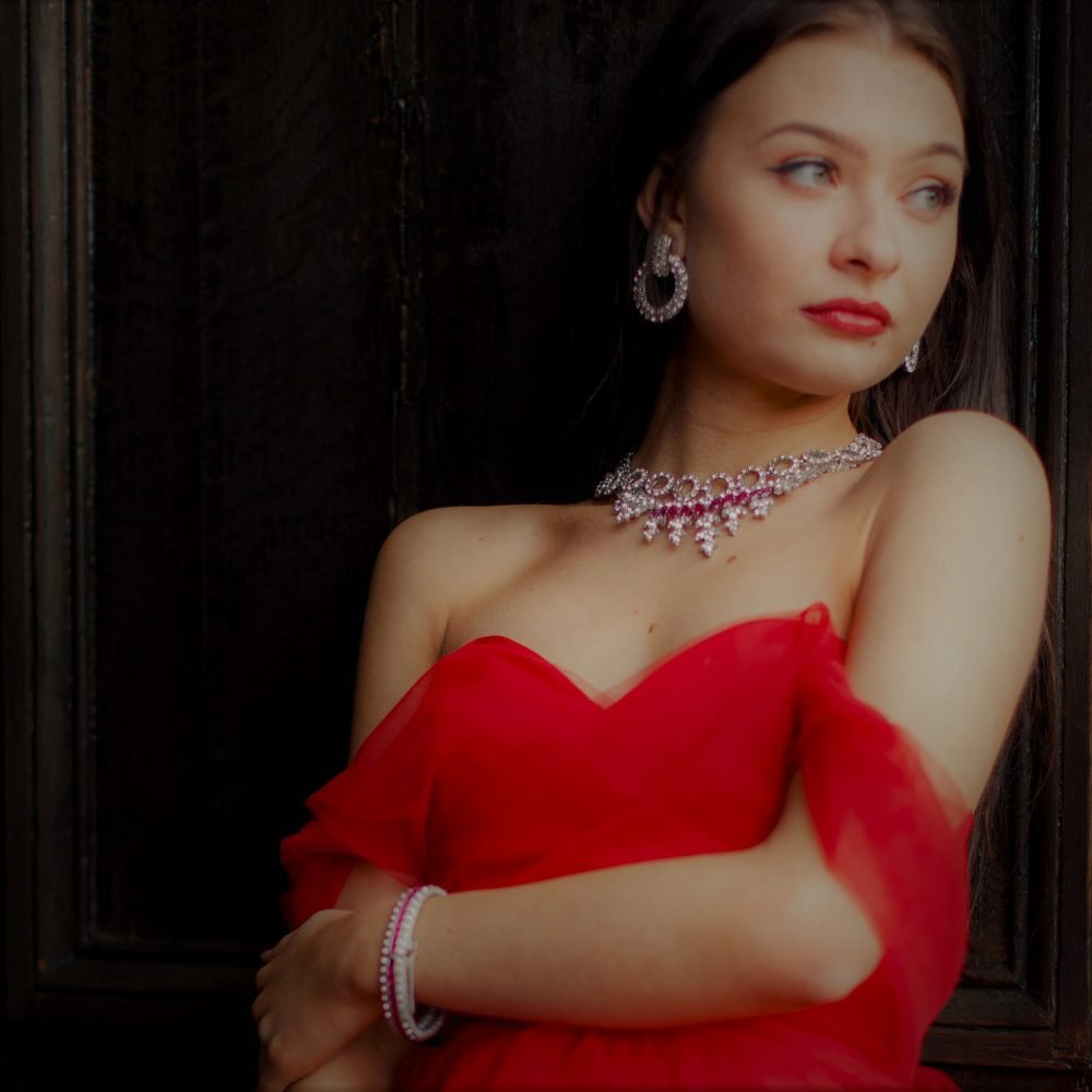 Vintage Christian Dior Faux Ruby and Diamond Collar
