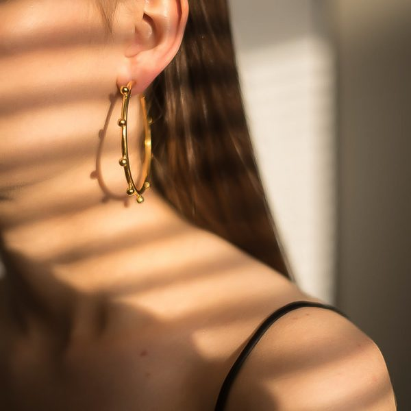 Vintage Gold Stud Hoop Earrings Jennifer Gibson Jewellery