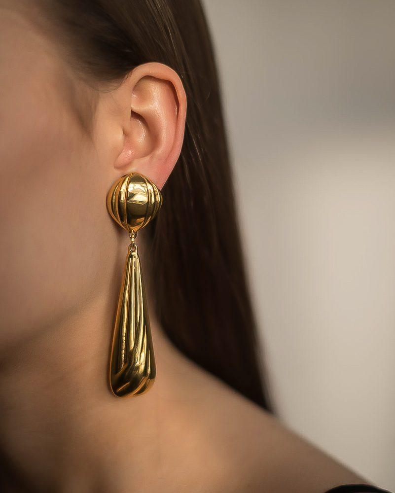 Vintage Elongated Gold Drop Earrings Jennifer Gibson Jewellery
