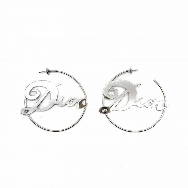 Vintage Dior Logo Hoop Earrings