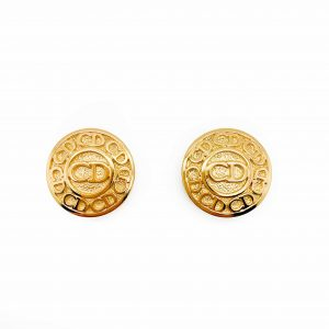Vintage Dior Button Logo Earrings