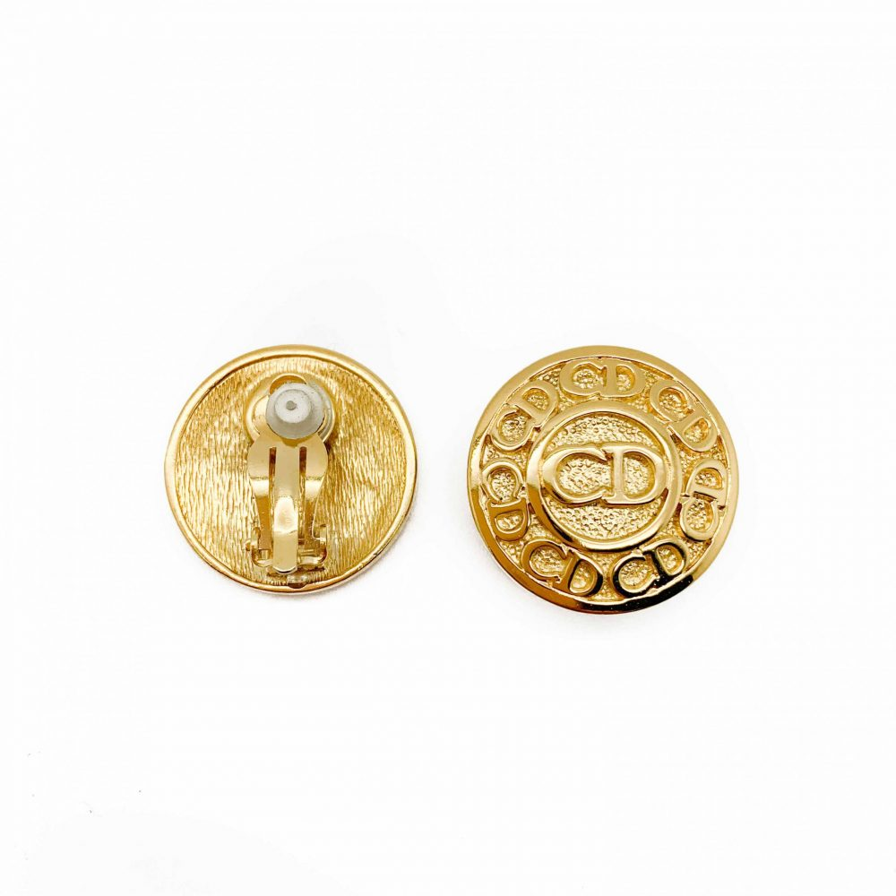 Vintage Dior Button Logo Earrings