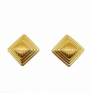 Vintage Dior Gold Diamond Design Earrings