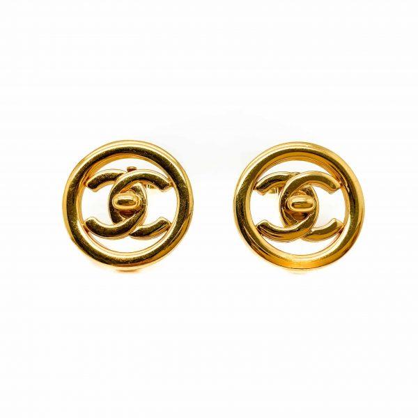 Vintage Chanel Gold Turnlock Earrings