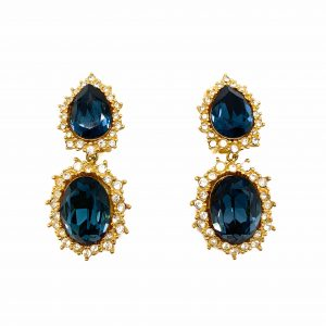 Vintage Dior Midnight Blue Cocktail Earrings
