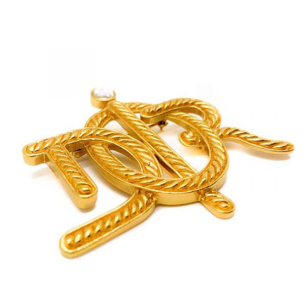 Vintage DIOR Gold Logo Brooch