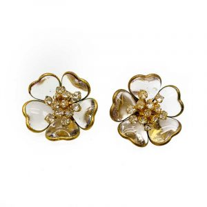 Vintage Gripoix Flower Earrings