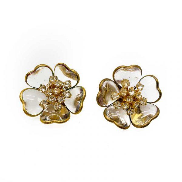 Vintage Gripoix Flower Earrings