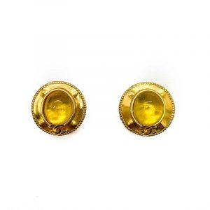 Vintage Chanel Yellow Gripoix Earrings