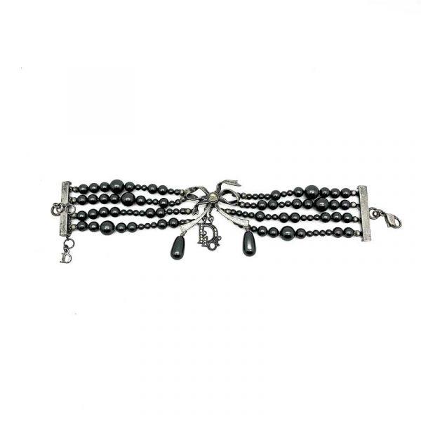 Vintage Dior Gunmetal Pearl Bracelet