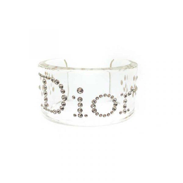 Vintage Dior Resin Crystal Logo Cuff