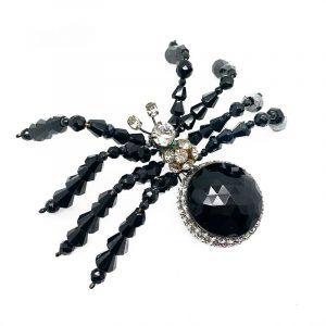 Vrba Black Spider Brooch